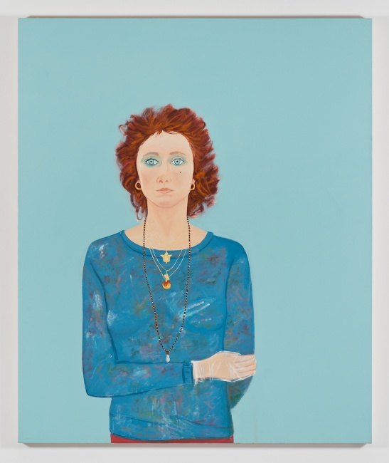 Joan Brown , Self Portrait at Age 42, 1980, oil enamel on canvas, 71 3/4 x 60 inches, © The Joan Brown Estate.