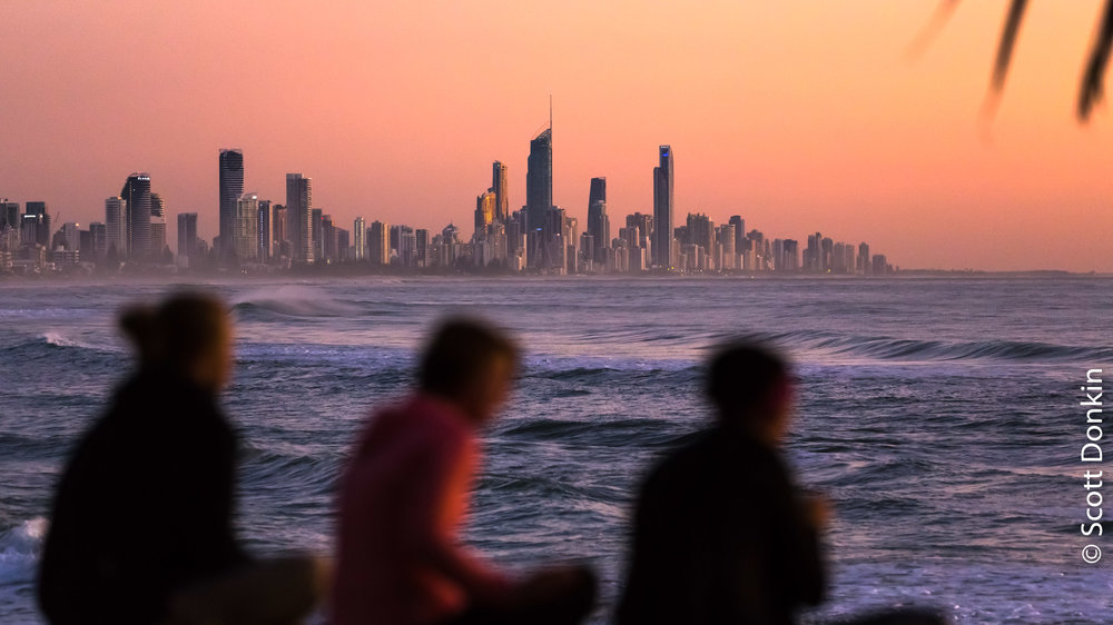 Friends, taking in the dawn. Burleigh Heads, Queensland.