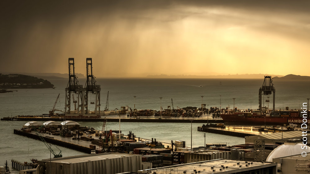 Approaching storm. Auckland Harbour, New Zealand.