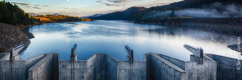 Lake Jindabyne Dam and sluice gates. Jindabyne, New South Wales.