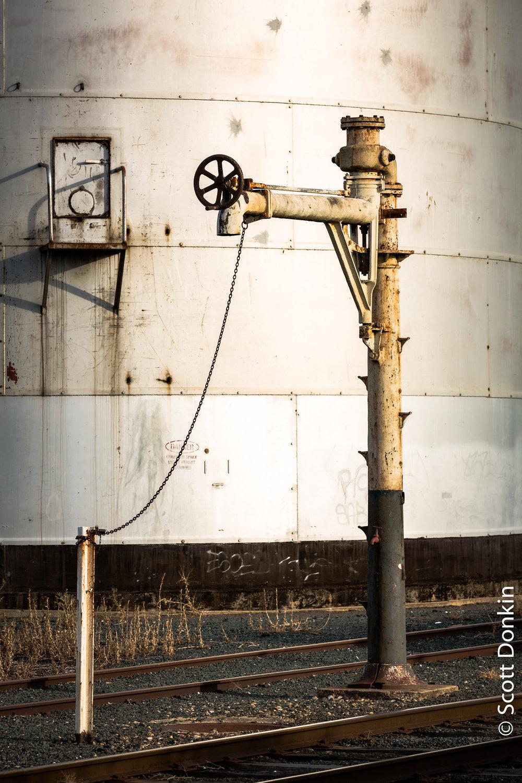 Water column standpipe for steam locomotives. Echuca, Victoria.