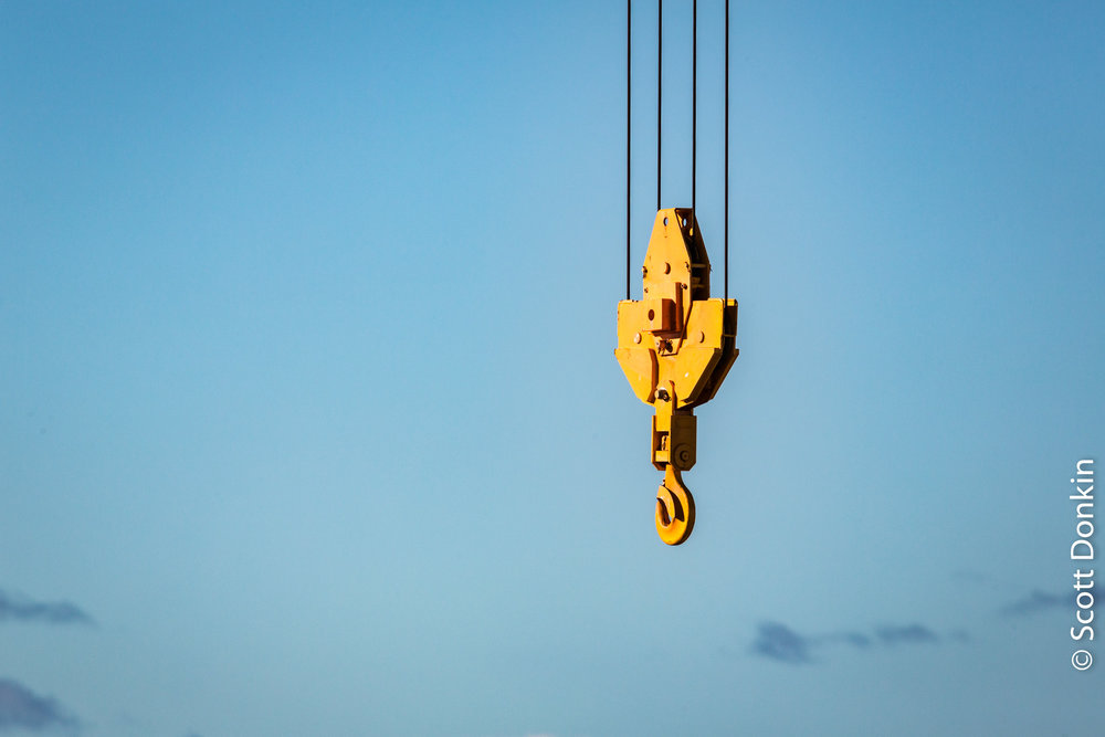 Lifting hook. Construction site. Main Beach, Queensland.