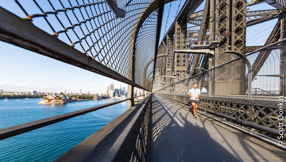 Morning run over Sydney Harbour Bridge.
