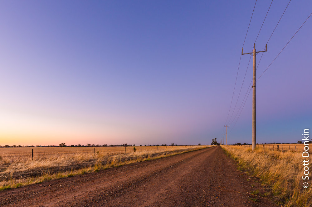 Dusk. Country road. Central Victoria.