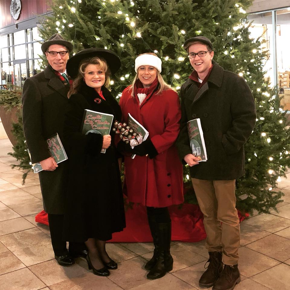Book Your Carolers Today! - Please contact Gail Becker at gail@capitalcitytheatre.org or call 773.612.1799 to set up a booking. All events are customizable and range in price. $1000 minimum for corporate parties.Where do our groups perform? Corporate events, hotel lobbies, shopping centers, restaurants, schools, libraries, community centers, just about anywhere you need holiday atmosphere. Currently, you can see and hear the Capital City Theatre Carolers at Hilldale Mall and The Edgewater Hotel throughout the holiday season.How long do we sing? Two hours is the booking norm, with one 20 minute break. We can accommodate our sets to your needs. Need a special song request? We can do it. Just let us know ahead of time and we'll have it rehearsed and ready to go.Do we need a piano or sound system? Not at all! Our groups performs accapella (without accompaniment) and still fill the space! We don't need microphones either. If you would like a formal performance on stage with mics and a piano, we can tailor that show just for your event!