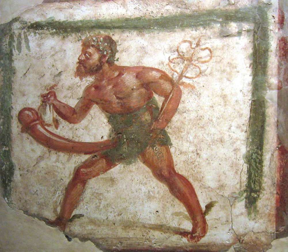 Fresco of the fertility and sex god Priapus in Pompeii