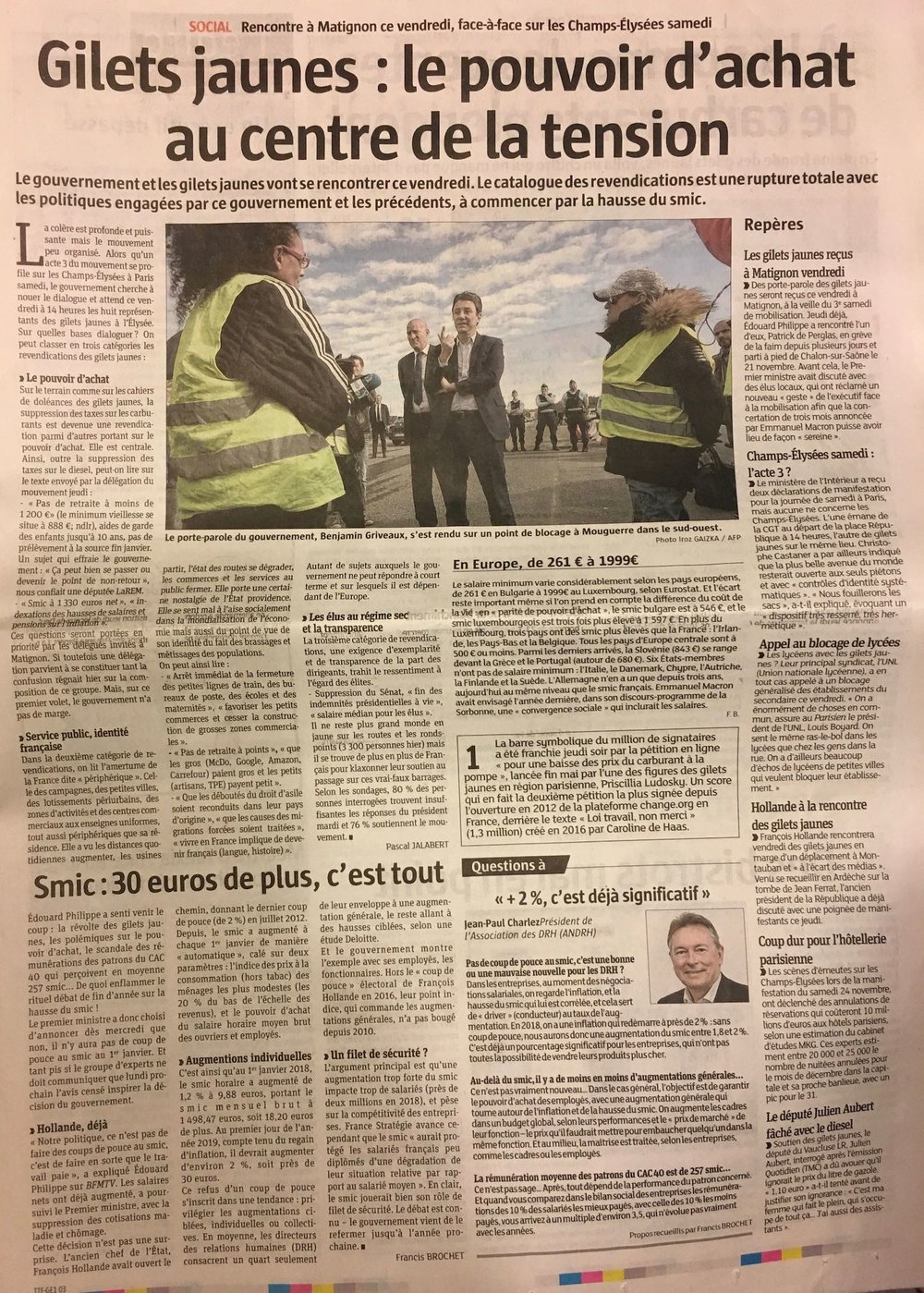"""""""Les Gilets jaunes: purchasing power at the centre of the tensions"""""""