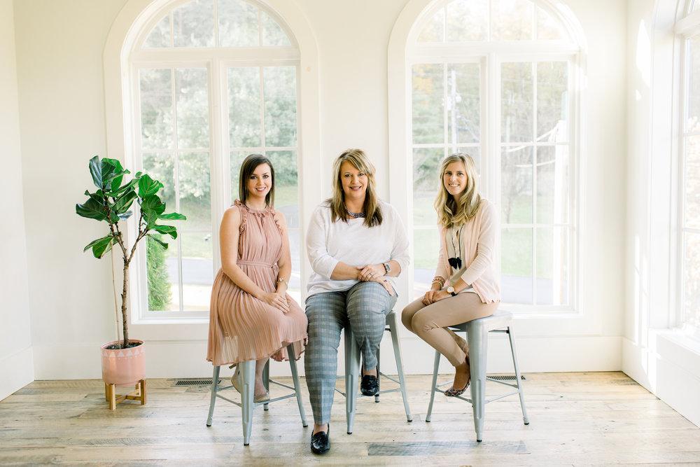 From left to right, Kasey Compton; Laura Poynter-HR VA; Kirsten Wilburn-Social Media VA; Not pictured: Dez Crowley, Systems & Process VA
