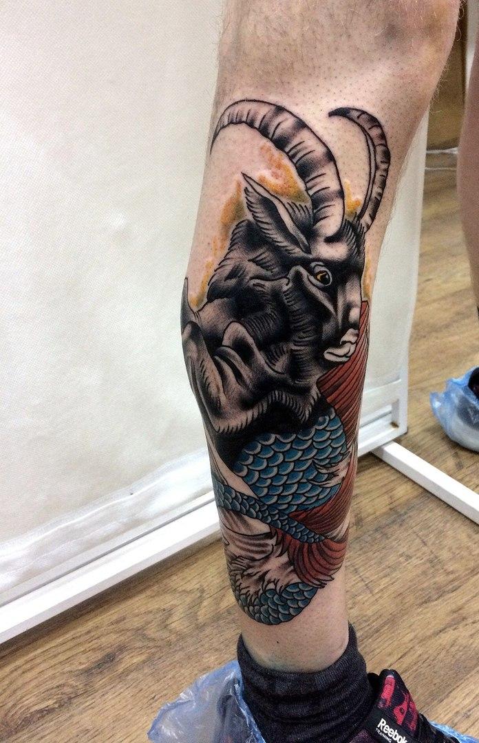 Козерог, традиционная татуировка,мастер Сергей Литвяков.jpg