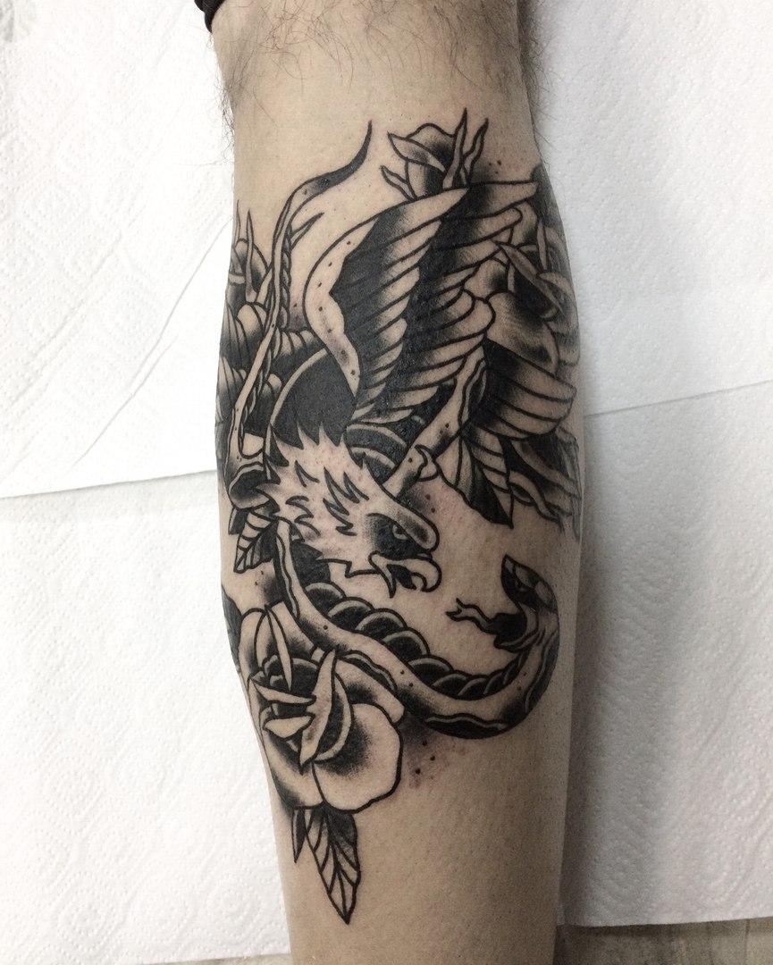 Орел, традиционная татуировка,мастер Сергей Литвяков.jpg