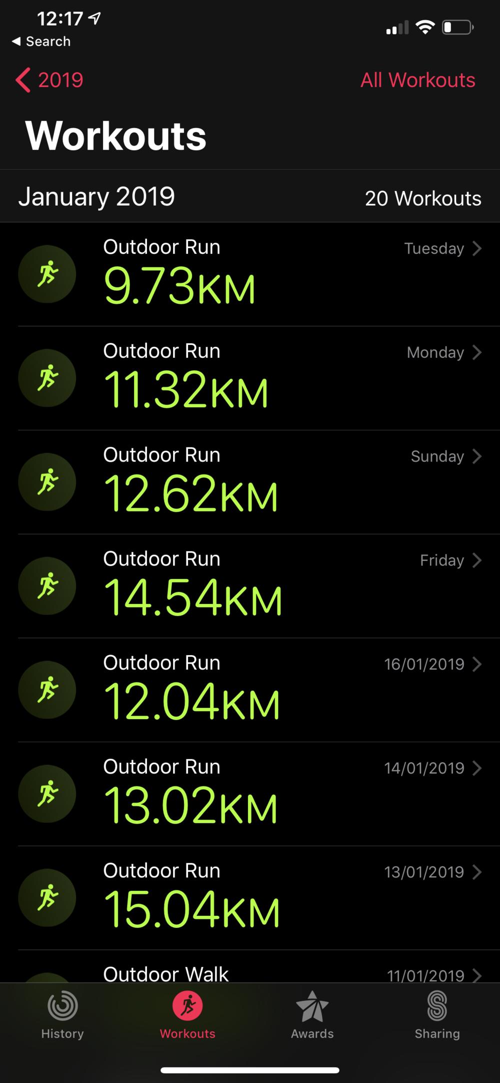 Tracking runs using my Apple Watch