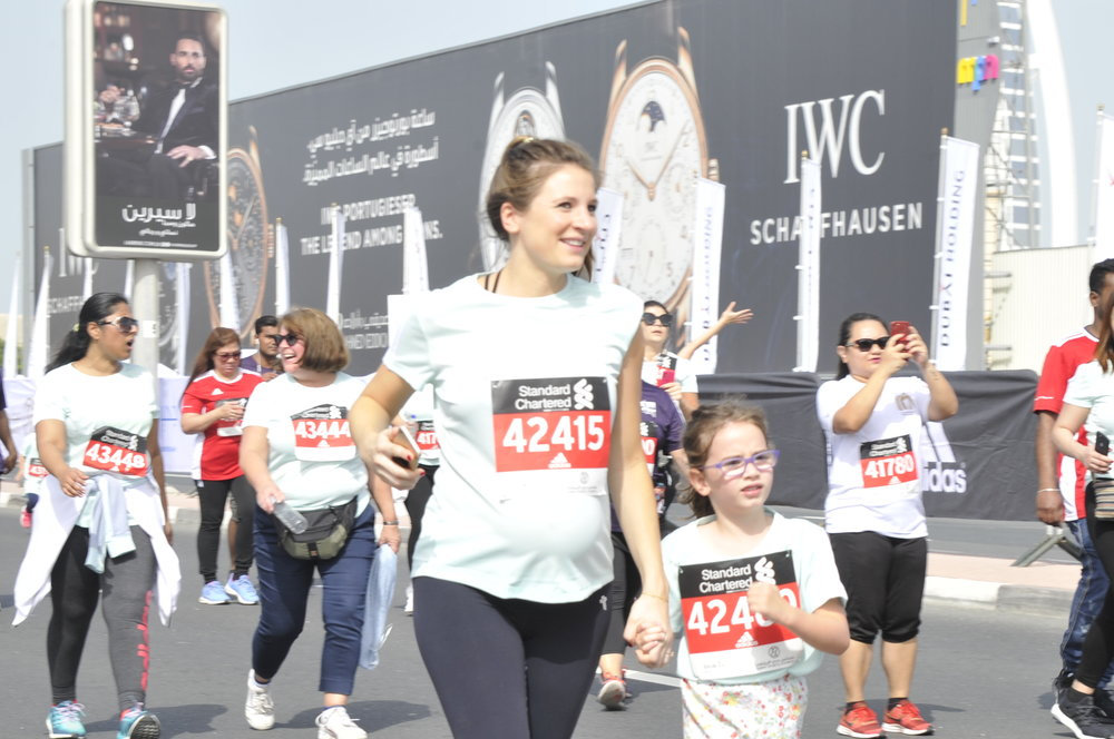 Leo and her Aunty Catherine running the 4K family fun run as part of the Dubai Standard Chartered Marathon 2019