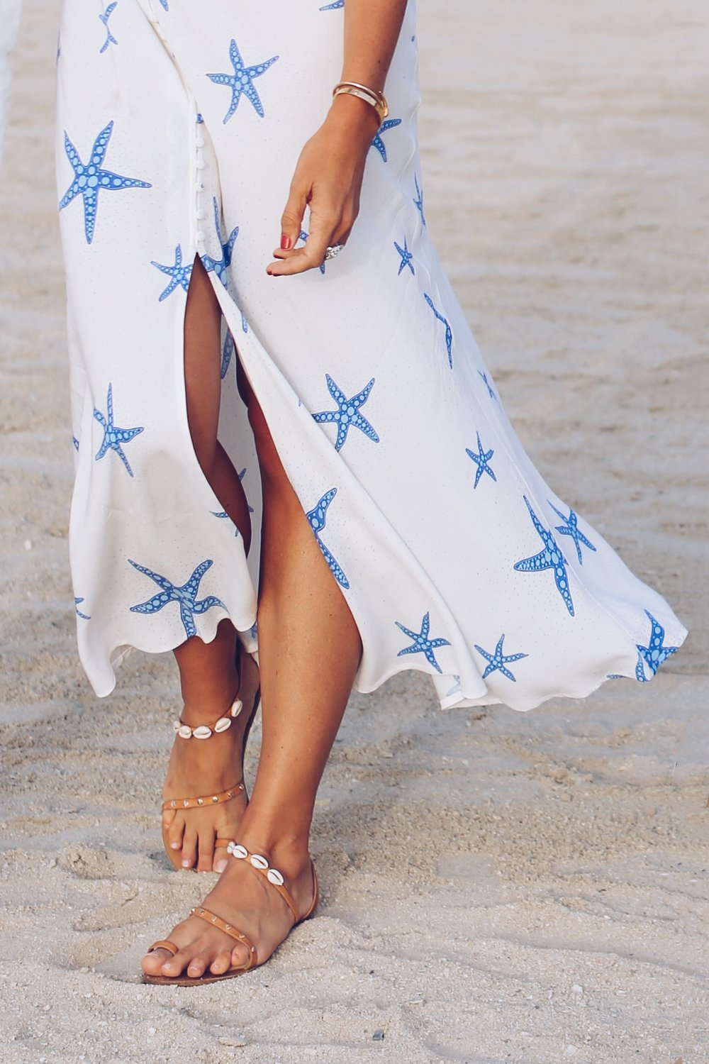 Dress by Rixo   Sandals by Ancient Greek Sandals