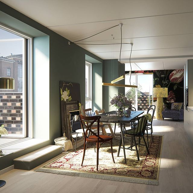 Penthouse apartment Fristrup Hus  @Carlsbergbyen.  Architecture: @cfmoller_architects  #copenhagen #københavn #3d #Architectural #Visualization #interiordesign #Denmark #Rendering #archviz #3dsmax #vray #vrayrender #cgi #itoo #adobe