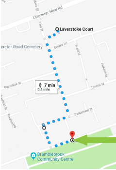 Directions from Laverstoke Court to Churchside Walk community room.