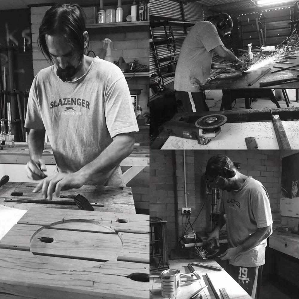 Daniel creating designs for Sparks & Dust