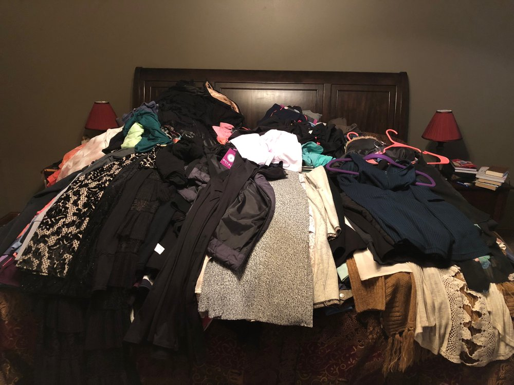 DURING - Taking everything out of your closet, and placing it in one pile, allows you to see how much stuff you truly have.