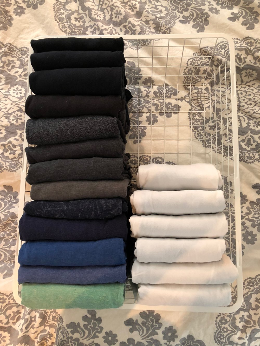 Organizing your clothes by color makes it easier to find a particular article of clothing.
