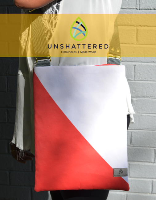 Unshattered makes bags from upcycled materials by women winning their fight against addiction. Click image to visit their website.