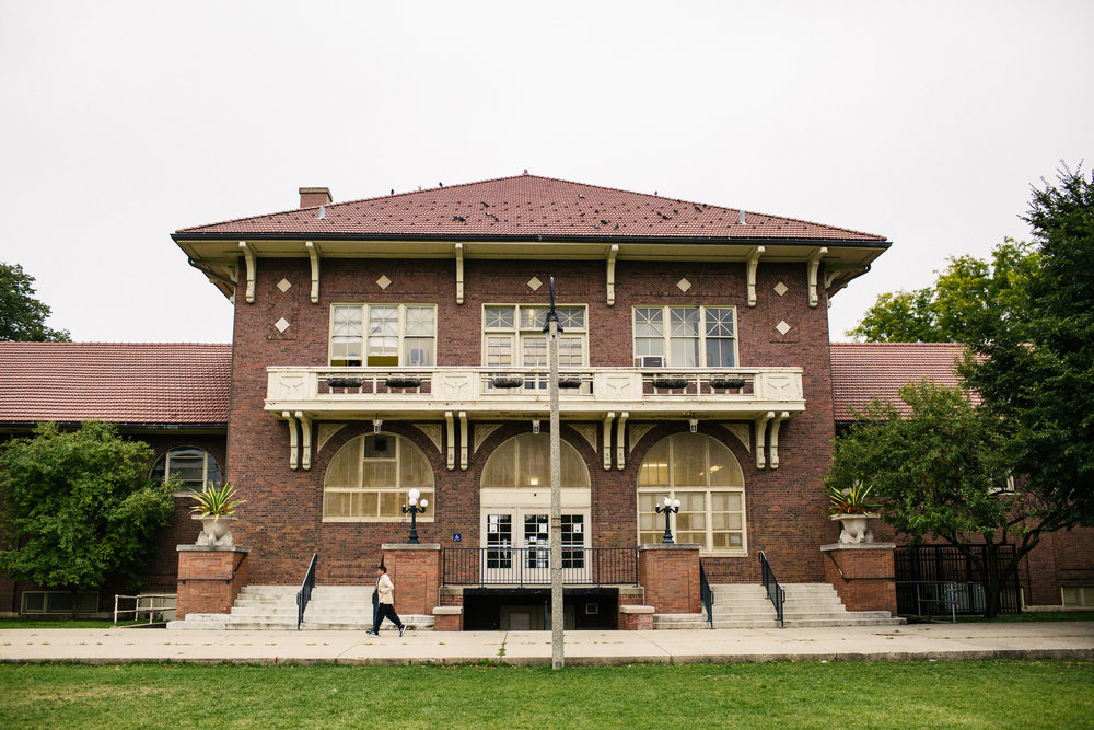Architects Clarence Hatzfield and Arthur Howell Knox designed the fieldhouse, which was built in 1914.
