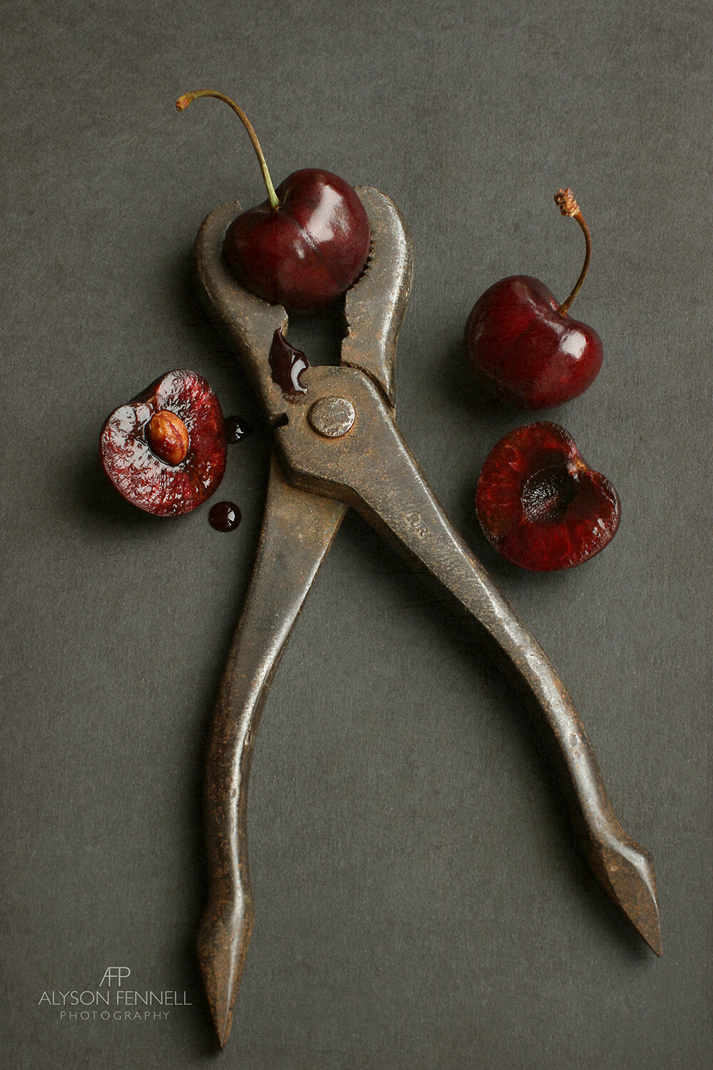 Cherries and Vintage Wrench