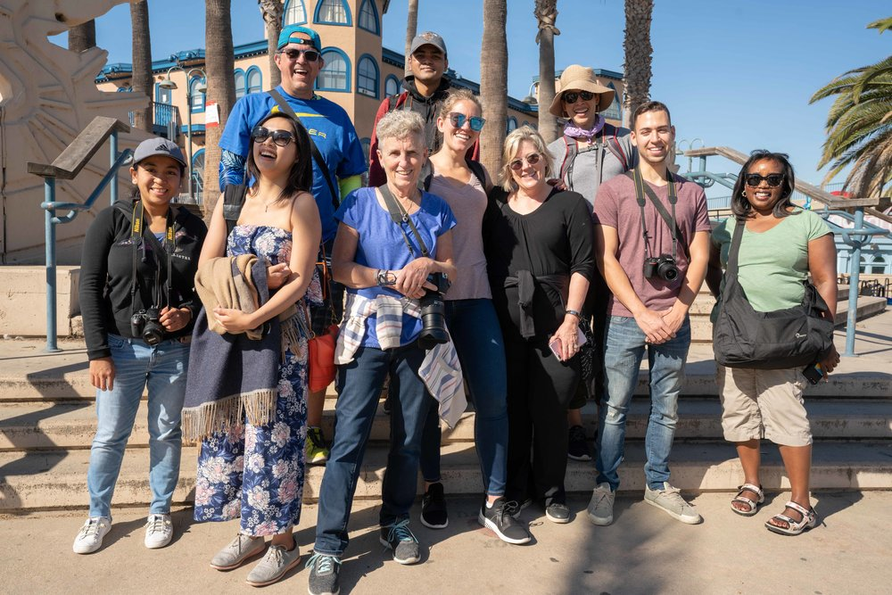 A happy group of my photography students at the Santa Monica Pier.
