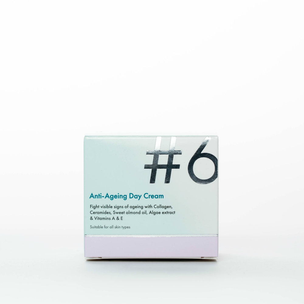 #6 Anti-Ageing Day Cream - Fight visible signs of ageing with Collagen, Ceramides, Sweet almond oil, Algae extract & Vitamins A & E.Our firming #6 Anti-Ageing Day Cream is specially formulated for skin already showing visible signs of ageing. The special blend of ingredients will leave your skin feeling moisturised, firm and radiant.Suitable for all skin types. Made in the EU.