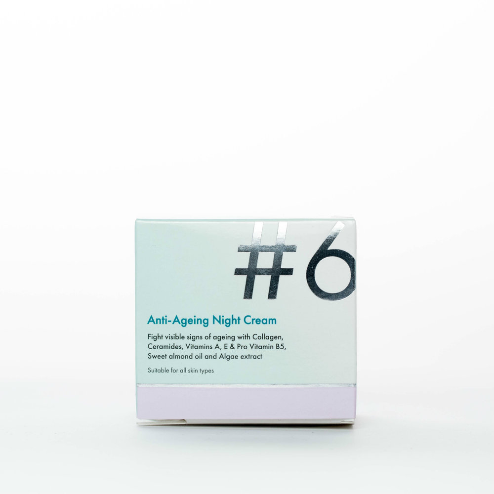 #6 Anti-Ageing Night Cream - Fight visible signs of ageing with Collagen, Ceramides, Vitamins A, E & Pro Vitamin B5, Sweet almond oil and Algae extract.Our nourishing #6 Anti-Ageing Night Cream is specially formulated for skin already showing visible signs of ageing. The special blend of ingredients will moisturise, soften and hydrate your skin whilst you sleep.Contains Ceramides, vitamins A, E and Pro vitamin B5, sweet almond oil and Algae extract.Suitable for all skin types. Made in the EU.