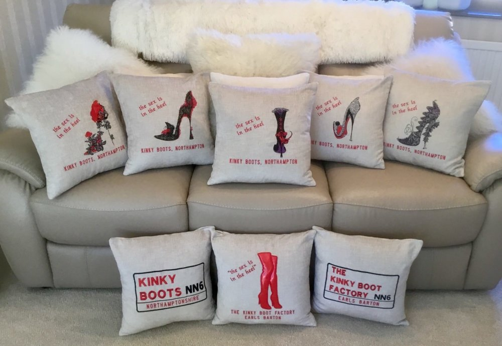 Luxury Kinky Boots Cushions - Hand crafted, made in Northamptonshire; the perfect treat for any Kinky Boots fan.