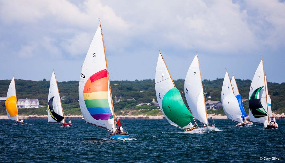 Quissett and Narragansett Bay S Class fleets racing on Buzzard's Bay