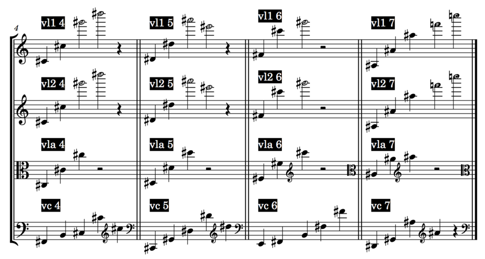 Harmonies 4, 5, 6, and 7, mapped to the range of the instruments. (some of these ranges, especially in the violin, were modified in the final version of the piece.)