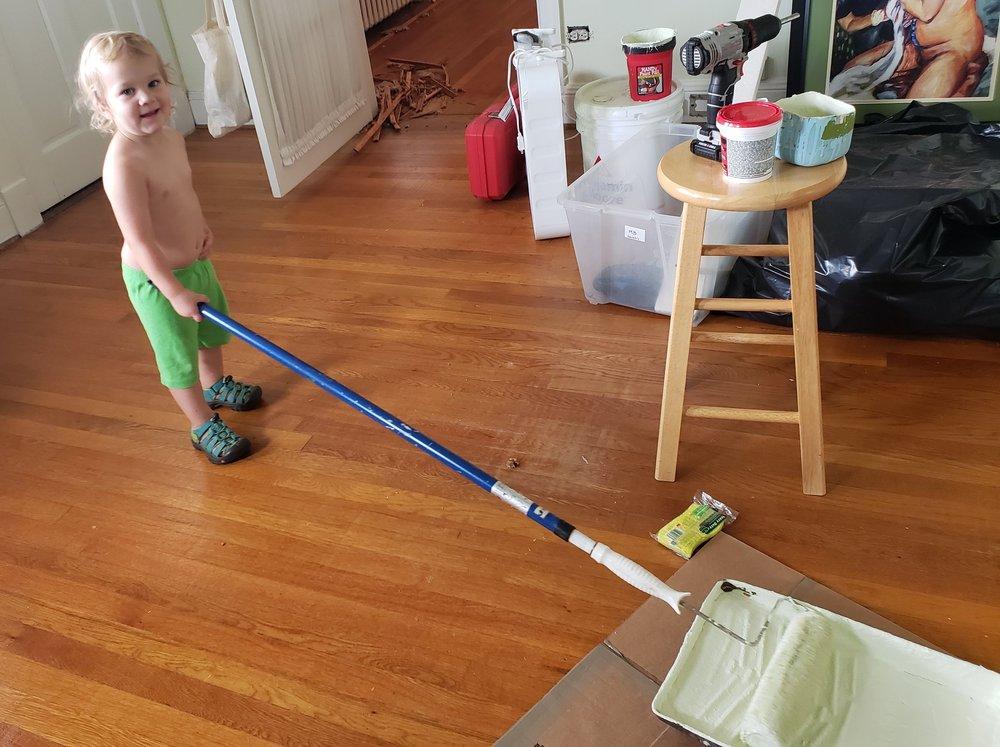 Baby Ephraim helping!