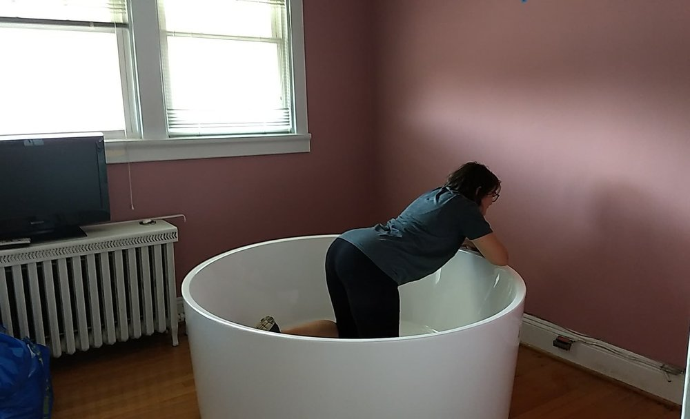 The most common labor position in water tubs