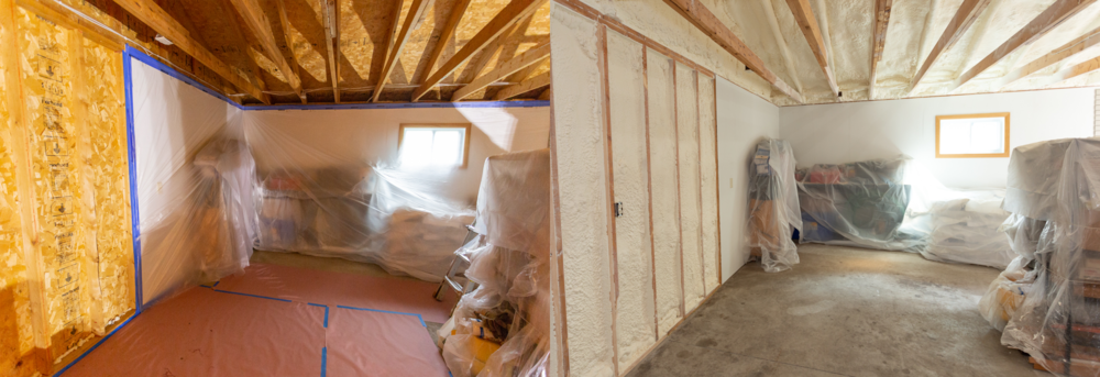 Before and After - Spray Foam Insulation - Garage