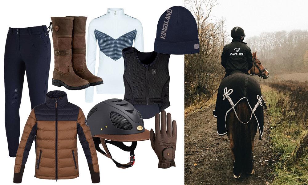 Ridebukse, boblejakke og lue fra Kingsland, boots fra Ariat, genser fra Cavalleria Toscana, sikkerhetsvest fra BeSafe, hjelm fra GPA, hansker fra RoeckGrip, jakke med brodering fra Hööks.
