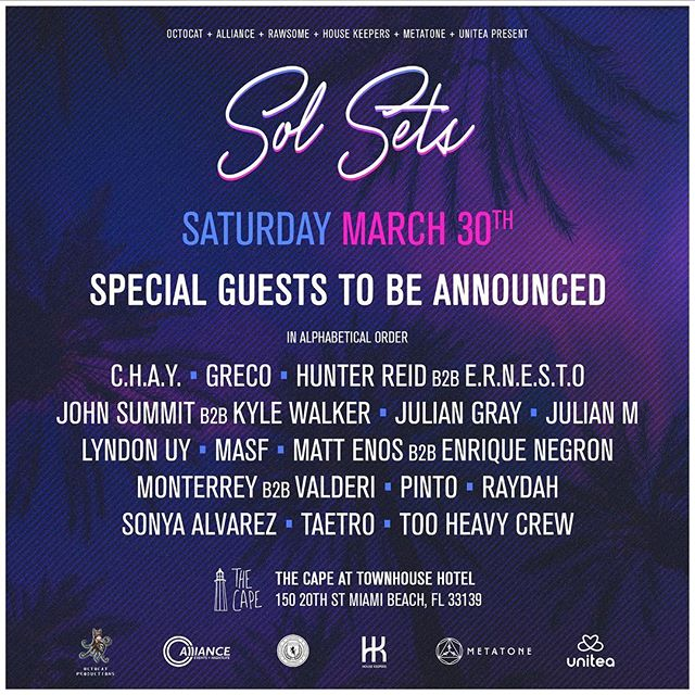Absolutely STACKED line up for Saturday of @miamimusicweek. Free tickets with RSVP on the facebook event page, let's groove!