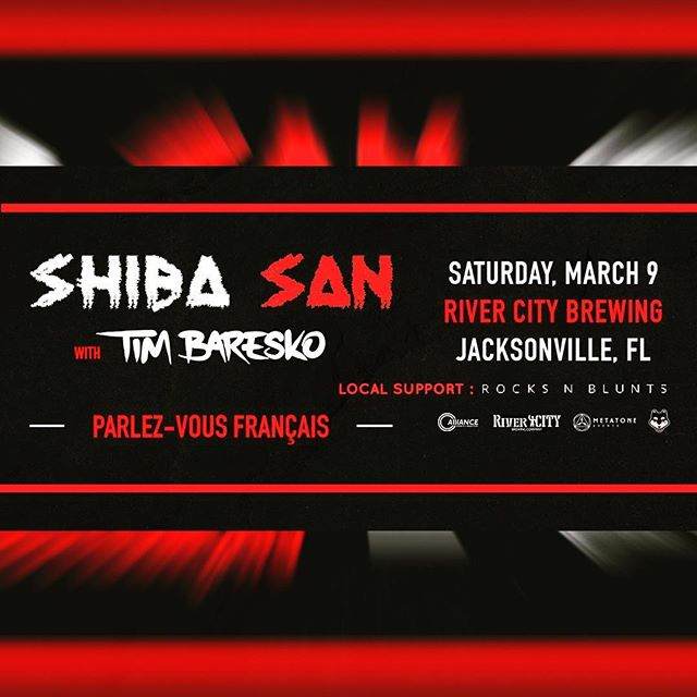 *TOMORROW* @shibasanmusic takes over @rivercitybrewingjax  Tickets are moving fast.  Support: @timbaresko  @rocksnblunts  @charliehustle2000 - 21+ event -