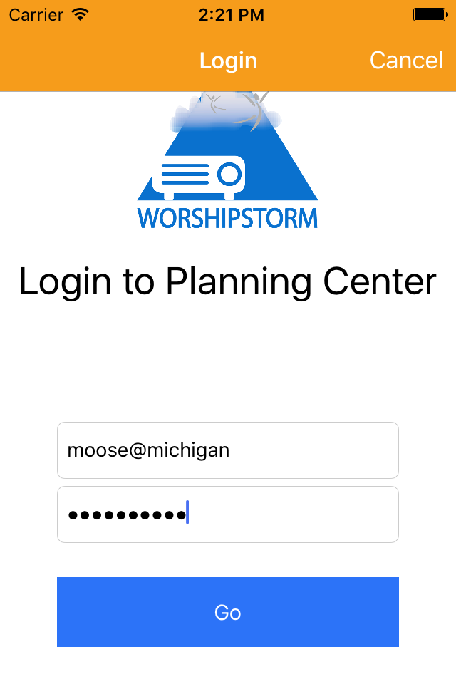 WorshipStorm Projector login to Planning Center