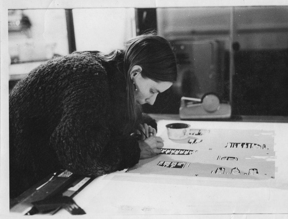 Marjorie Fletcher sets type on the first AJB books in 1973.