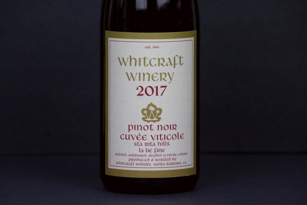 January 2019 - Whitcraft Pinot Noir La Lie Fine (Cuvee Viticole)