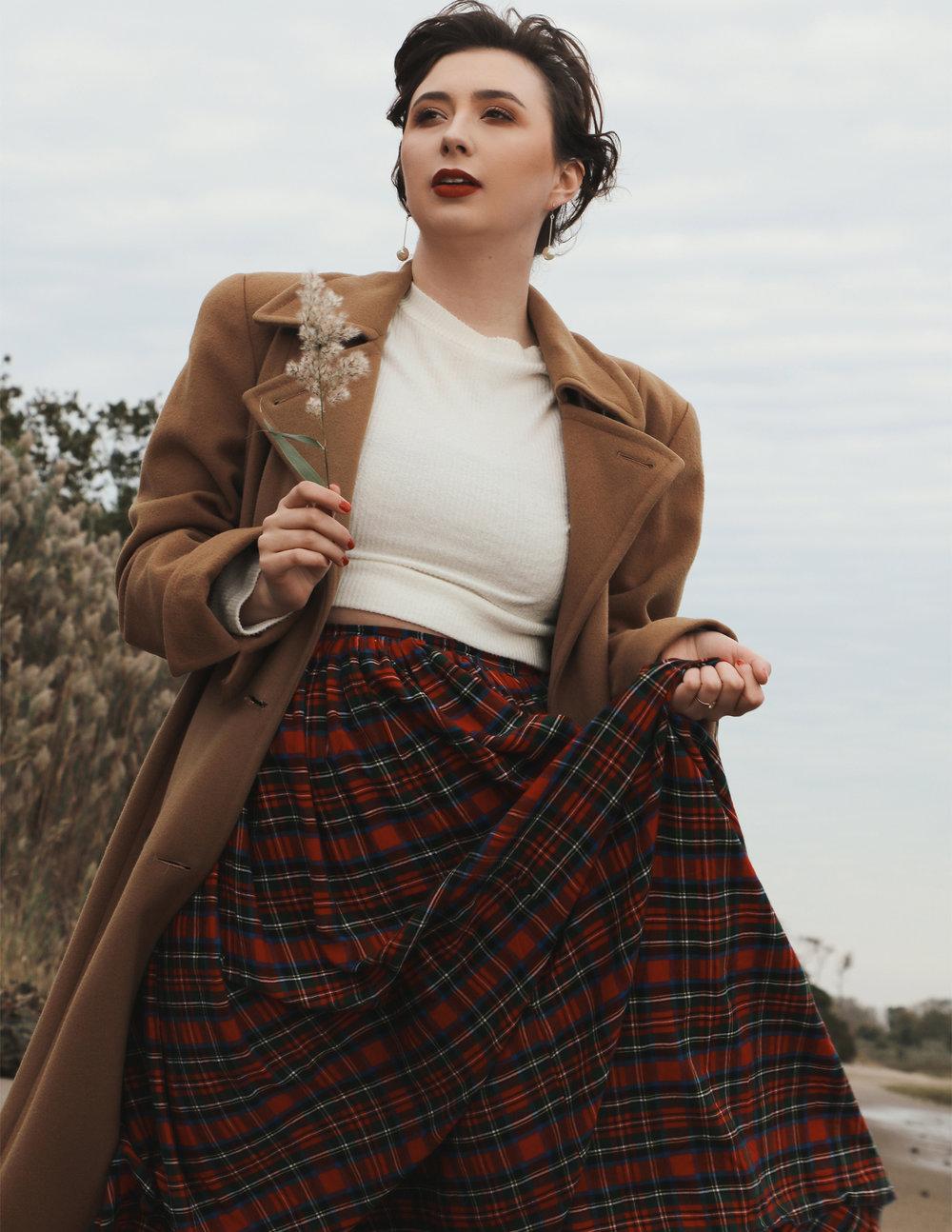 Coat - Vintage Sweater - Thrifted Skirt - Sonnet CXVI Earrings - Jeanne Danjou