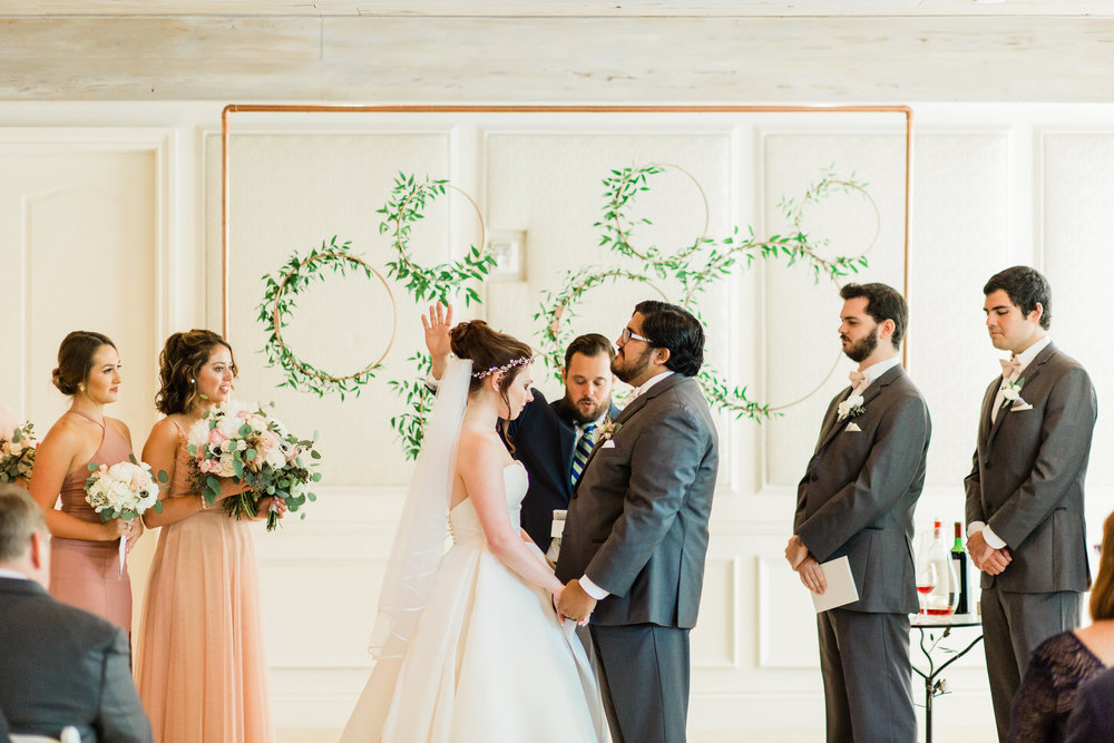Rose Gold Greenery Ceremony Backdrop by La Feterie, Boca Raton Wedding Planning by Fleeting Elegance