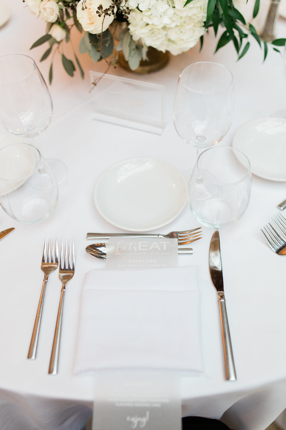 Vellum and White Menus, Palm Beach Wedding Planning by Fleeting Elegance