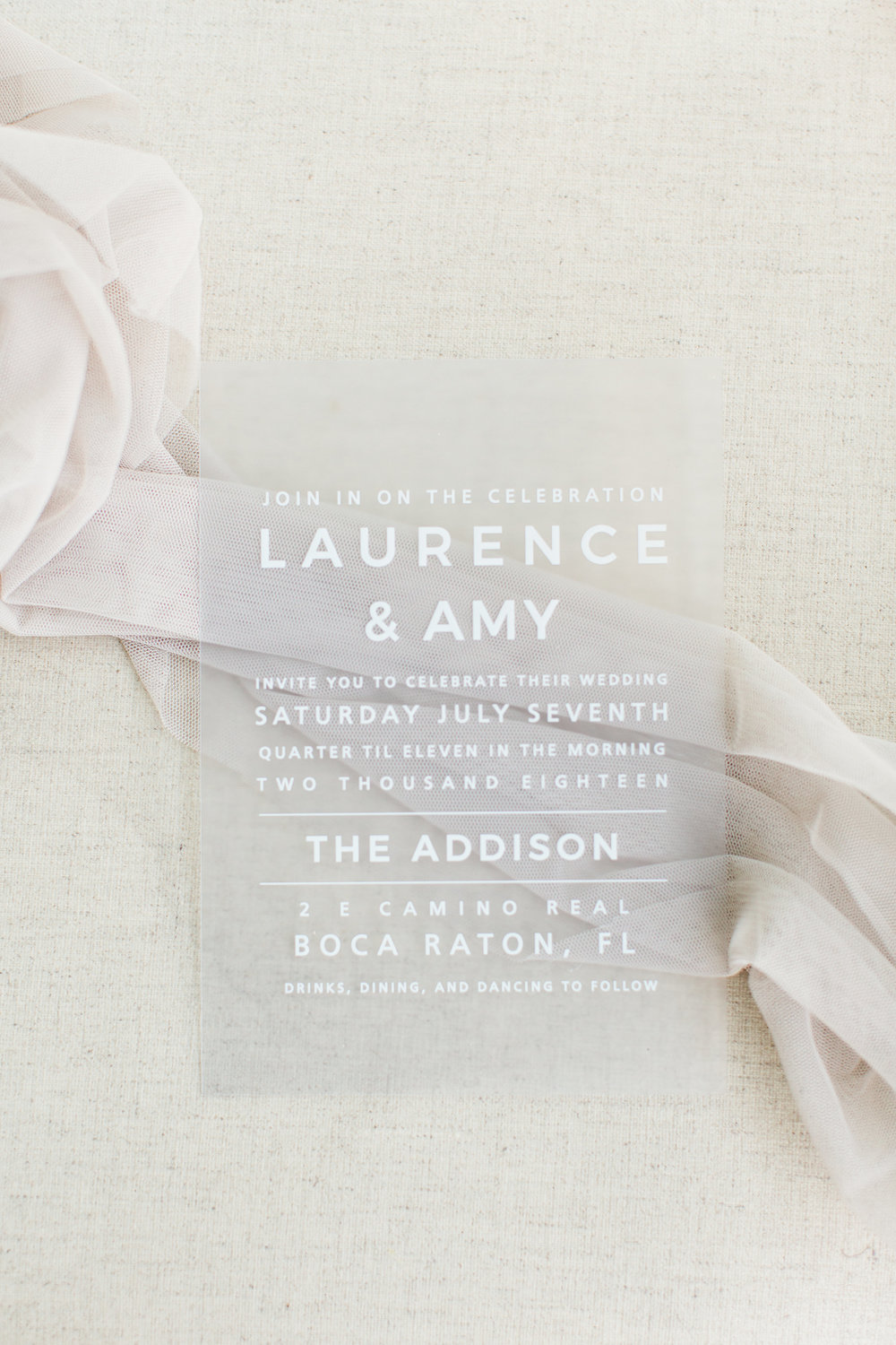 Acrylic Wedding Invitations Palm Beach Wedding Planning by Fleeting Elegance