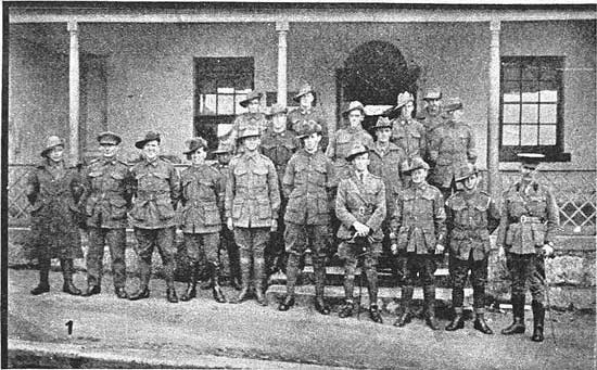Soldiers assembling at Anglesea Barracks.  [Tasmanian Mail 8th August 1918 p17]