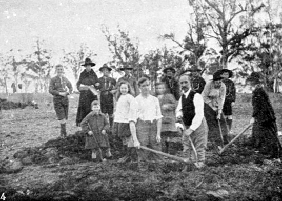 Members of the Crowhurst family preparing spot for Fuller tree, 18/7/1918.  [Weekly Courier 25th July 1918 p21]
