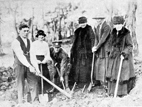Members of the Wickins family preparing a spot for one of the two Wickins on the Walk, 6/7/1918.  [Tasmanian Mail 27th June 1918 p19]
