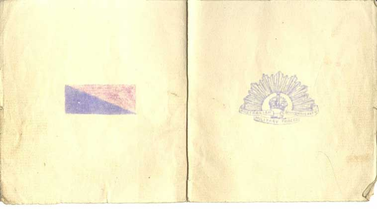 Back of Christmas card 1915. The colour patch is for 1st Division Artillery units.