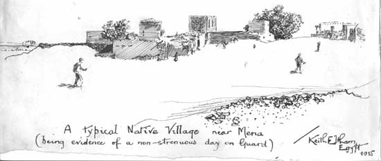A lovely pen drawing of a scene at Mena in Egypt.
