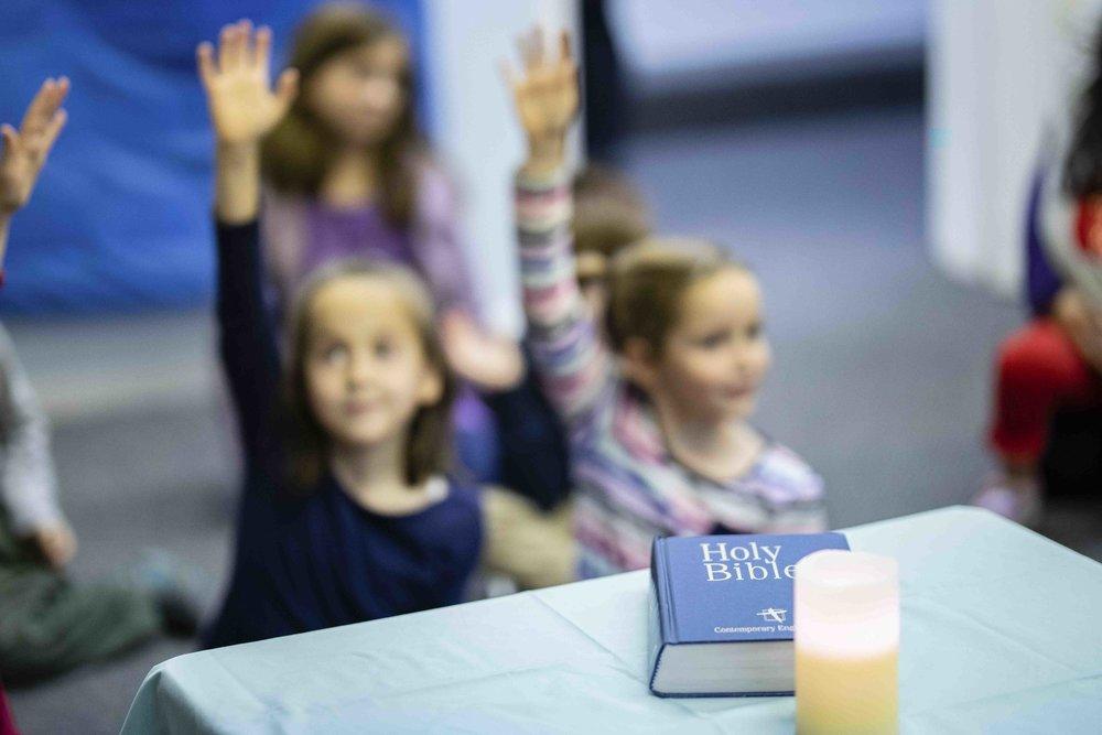 Children participating in Sunday School